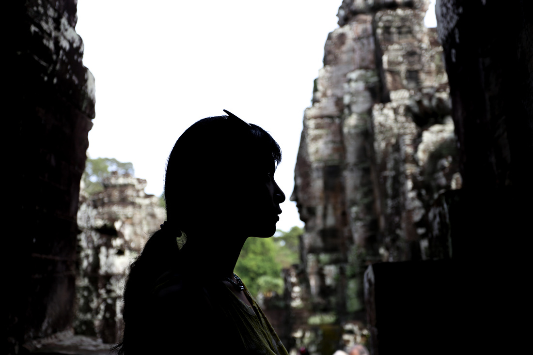 Thousands of faces in the temple of Bayon
