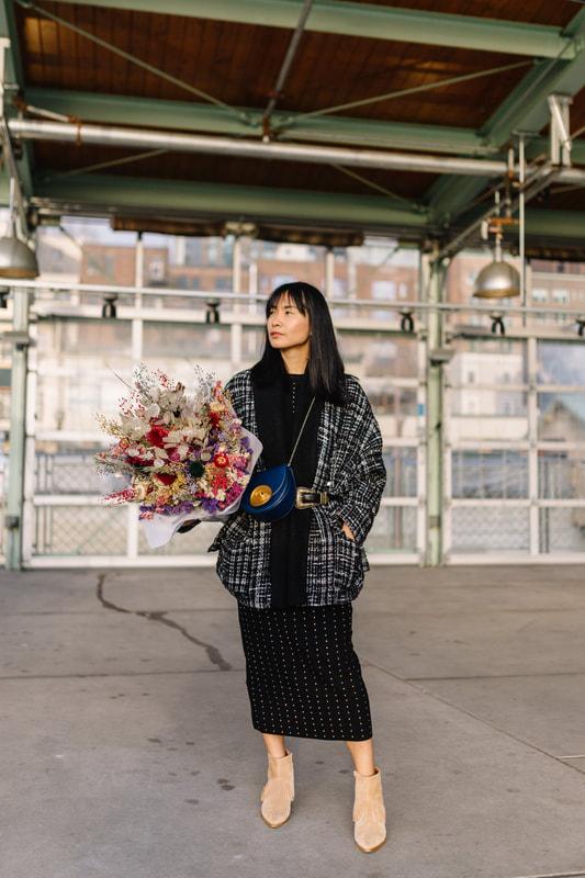 Tweet coat and fresh flowers